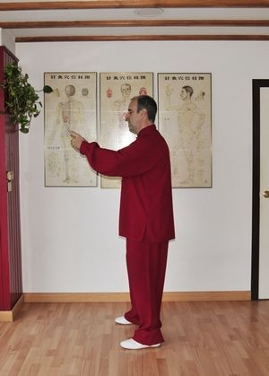 """Daoyin Wuji poste básico """"Sostener la Esfera"""" a la altura de Tiantu (lateral)."""