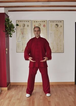 "Daoyin Wuji poste natural ""Sostener la Esfera"" a la altura de Dantian."